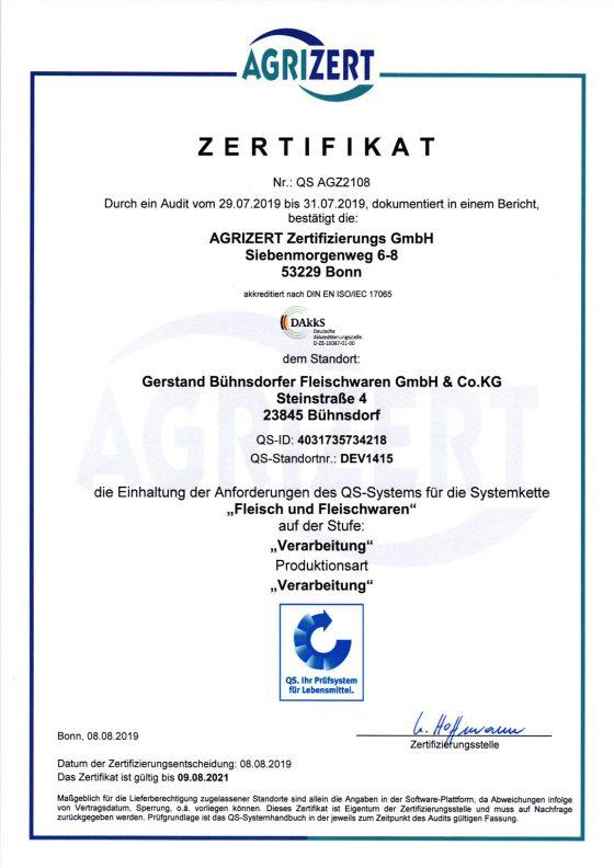 """Zertifikat über die Einhaltung der Anforderungen des QS-Systems für die Systemkette """"Fleisch und Fleischwaren"""""""