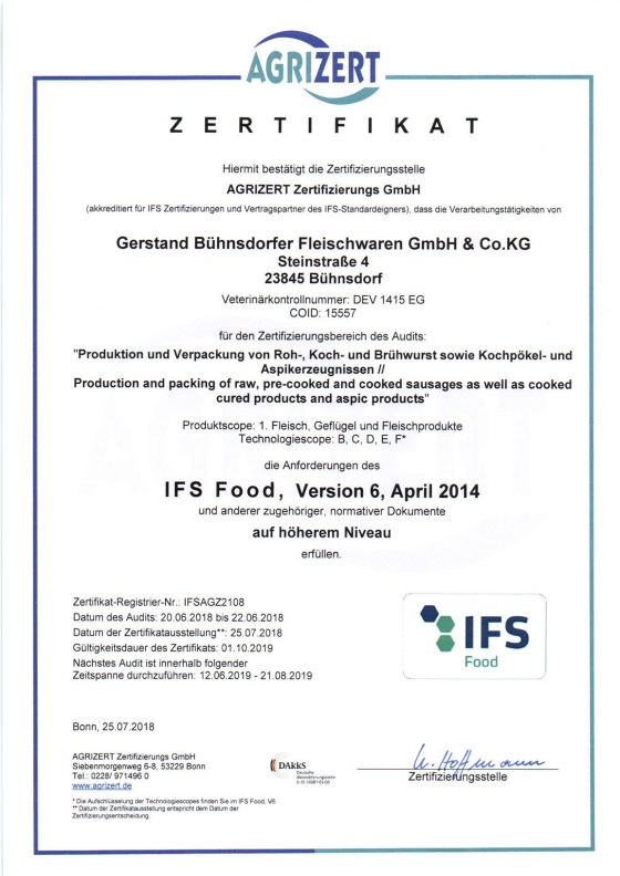 Zertifikat IFS Food, Version 6, April 2014